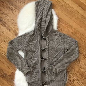 FOREVER 21 Knit Quilt Sweater Cardigan with Hood